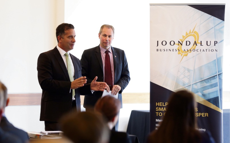 Small Business and Tourism Minister Paul Papalia and Joondalup Business Association president Max Wilson. Picture: Martin Kennealey