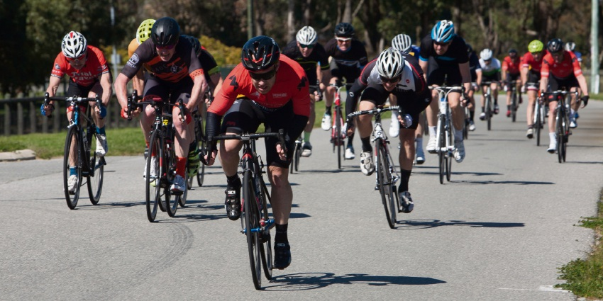 Greg Gale sprints to the win in B grade. Nick Cowie photography.