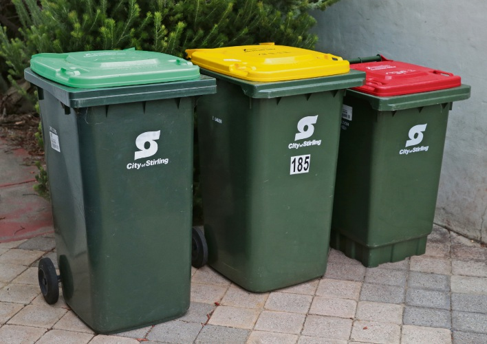 City of Stirling's three-bin system. Photo: Martin Kennealey