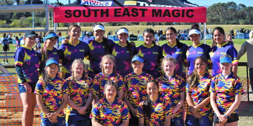 The Allies girls, featuring players from Nedlands and clubs across Perth, over in Sydney at the 7s All Girls Tournament. Picture: Supplied.