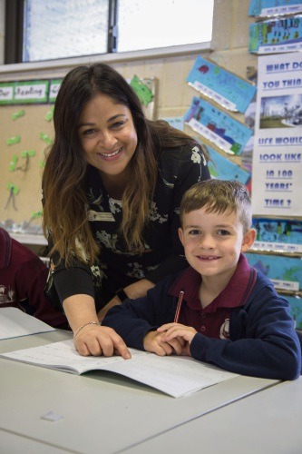 Sharmila Clissold with student, Hunter Brechin. Photo: Carla Vasukicakau