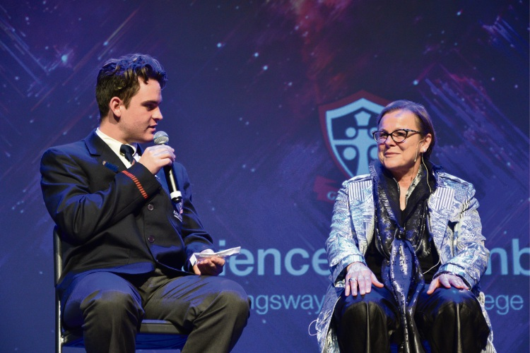Year 12 student Joel Calley with Fiona Wood.