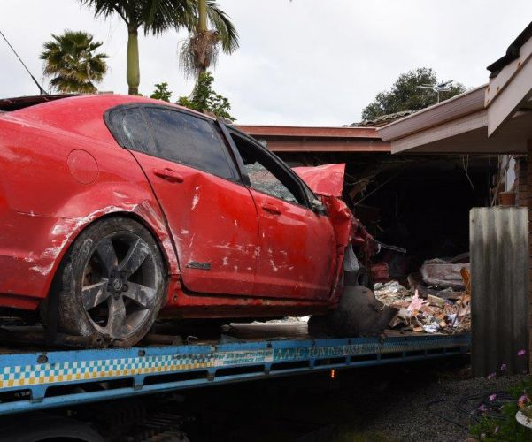 The damaged car and house. All photos: WA Police