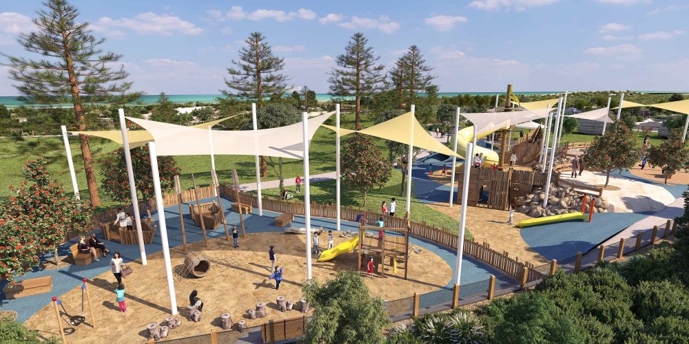 First glimpse of community-designed foreshore park playground in Golden Bay