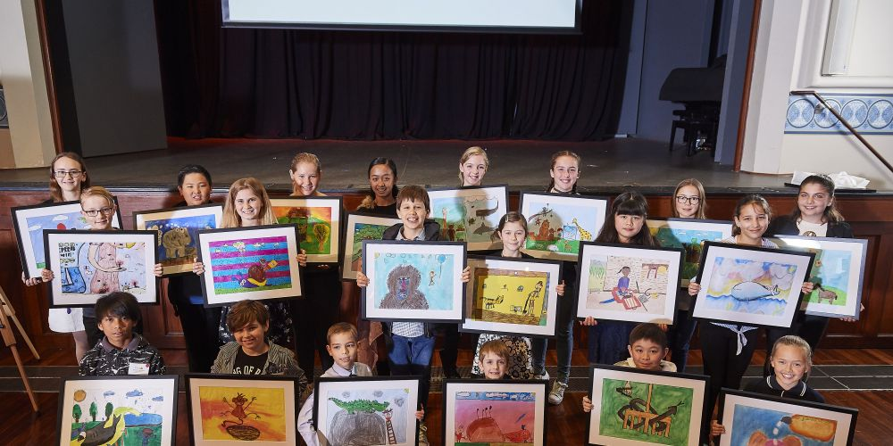 Beckenham Primary School's Dieon Carl Dino (front row, far left) and Gibbs Street Primary School's Lennard Adhiwishnu (front row, second from right) have had their artwork selected to feature in a new picture book.