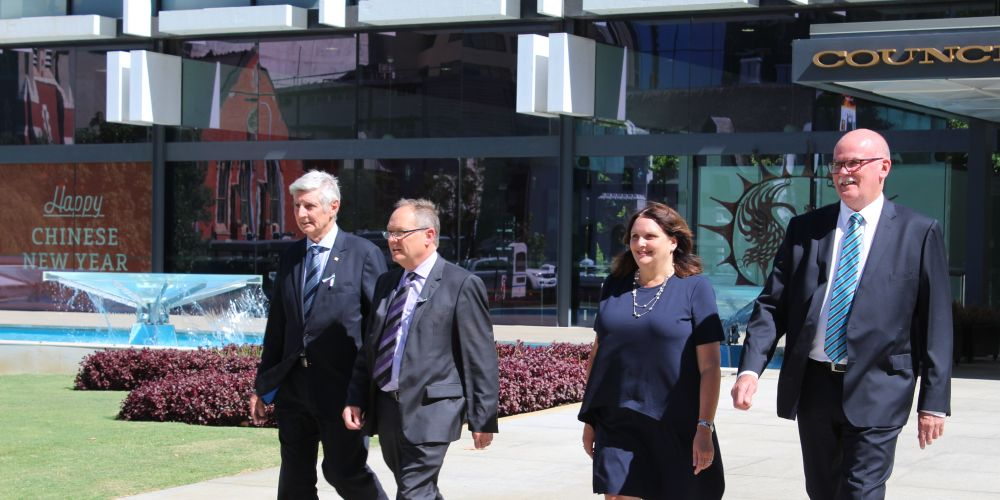 Eric Lumsden, Local Government Minister David Templeman, Gaye McMath and Andrew Hammond.