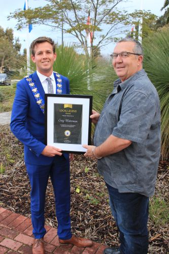 Mayor Rhys Williams and Craig Waterman with his Local Legend Award.