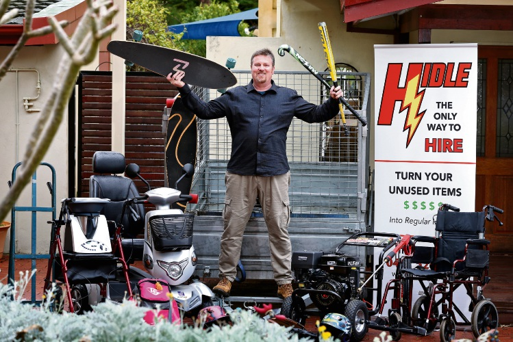 Troy Donoghue, of Kalamunda, founder of Hidle with some of his gear for hire. Picture: David Baylis d486250