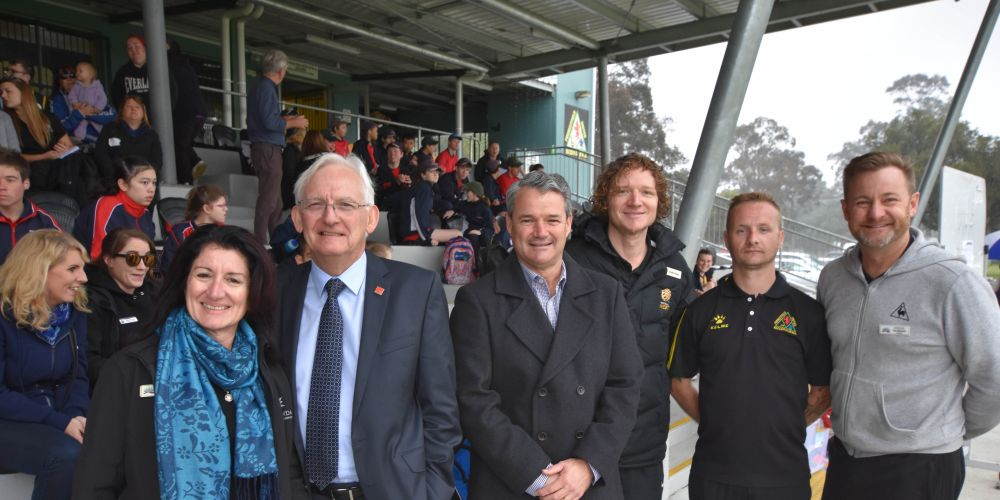 Principal Gayle Nelson, Matthew Hughes, Stephen Price, Gordon Duus, Participation Office from Football West, Damien from Hartfield Park Soccer Club and Paul Mansfield.