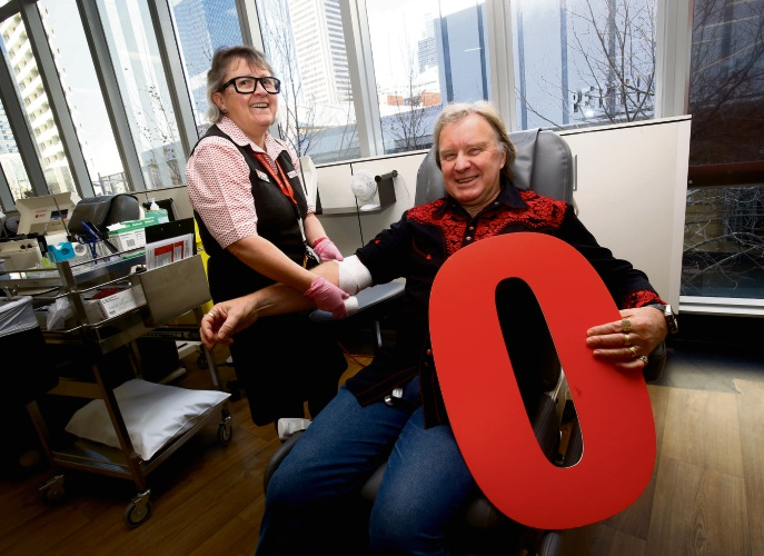 Enrolled nurse Susan Weston and Milestone blood donor Allan Barber. Picture: Matt Jelonek.