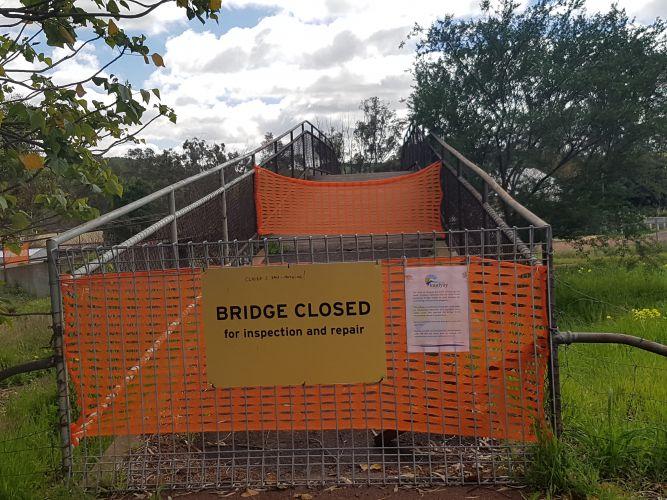 The closed footbridge.