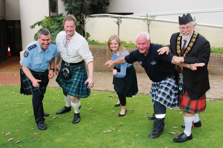 Paul Little, Armadale councillor Colin Campbell, Lauren Carr, Mick McIntosh and Armadale mayor Henry Zelones are ready for September 9's Kilt Run.