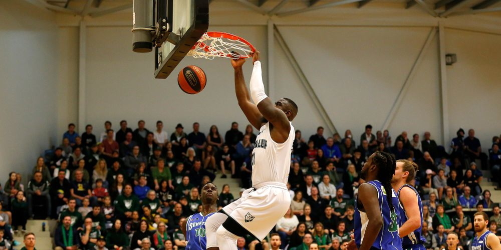 Jalen Billups dunks in the Wolves game two victory over Stirling. Picture: Michael Farnell, sportsimagery.com.au