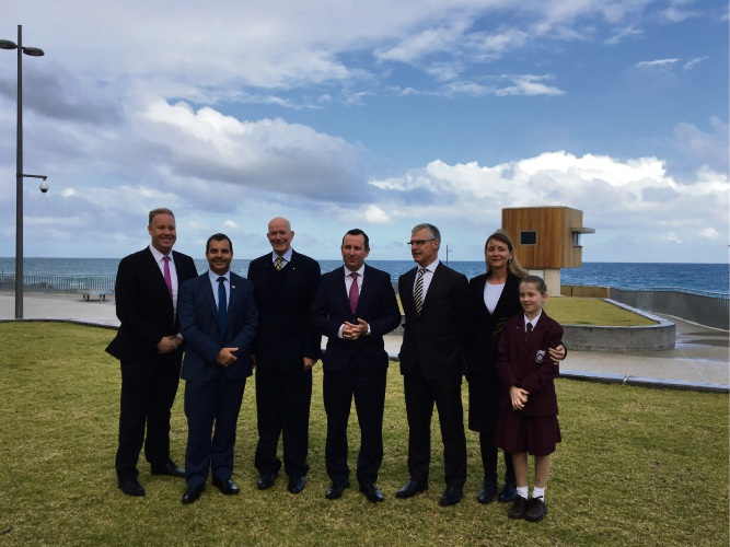 Stirling Mayor Mark Irwin (second left) and Premier Mark McGowan (centre) with fellow politicians at Scarborough Beach. Photo: Laura Pond