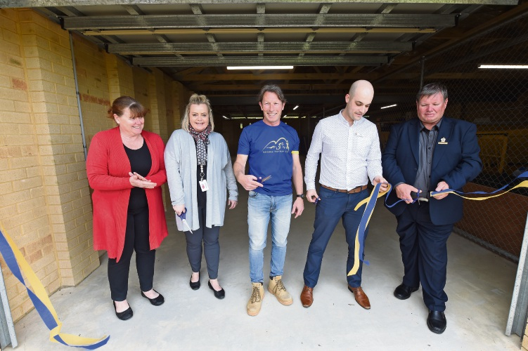 Jo-Anne Prout, Natalie Garnsworthy, club president Ian Crane, Tim Hutchinson and Cr Darren Lee open the extension.