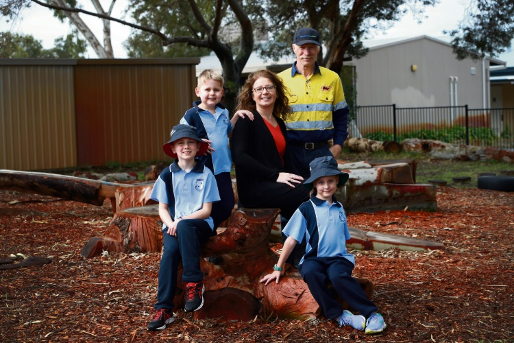 Students Nathan Coombs, Addison Van Der Voet and Blake Huppatz with principal Janice Cuculoska and Robin Booth from Kennedy Tree Services in the Camboon Primary School play area. Picture: Andrew Ritchie www.communitypix.com.au d485576