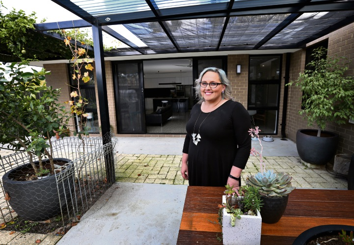 Building designer Romona Sandon of Bassendean, in her sustainable home. Picture: David Baylis www.communitypix.com.au d486051