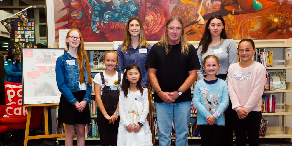 Western Suburbs student award winners with WA author Tim Winton.