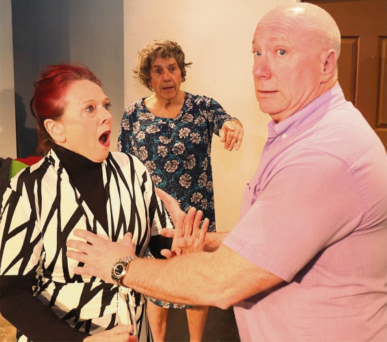 Keeping abreast of things gets Eric (Coogee resident Peter Neaves, right) in a spot of bother with Ms Cowper (Fremantle resident Lis Hoffmann), much to the horror of Norman (Peter Bloor, centre).