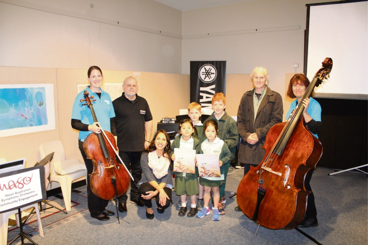 WASO member Melina Forsythe, Yamaha Music Australia keyboard demonstrator Alf Demasi, author Kirli Saunders, Winthrop Primary School students Vidya Lays, Sidnet Flanagan-Hawkes, Elisabeth Tjandra, Matthew Saunder, illustrator Matt Ottley and WASO member Louise Elaerts at The Sound of Picture Books.