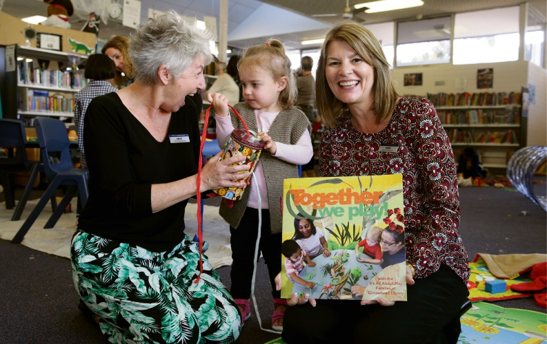 City of Wanneroo early childhood officers Hayley Cann and Karen Dales-Anderson with Emily Tarver (22 months-Banksia Grove). Photo: Martin Kennealey