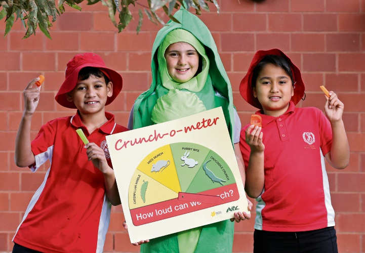 Spearwood Primary School students Kayden (9), Lily (11) and Rajan (9) took part in the Great Vegie Crunch.