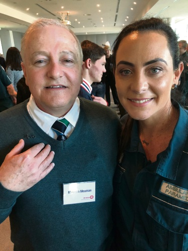 Malcolm Meumann was reunited with paramedic Tania Hill who saved his life. She presented him with a heartbeat-inspired brooch she created.