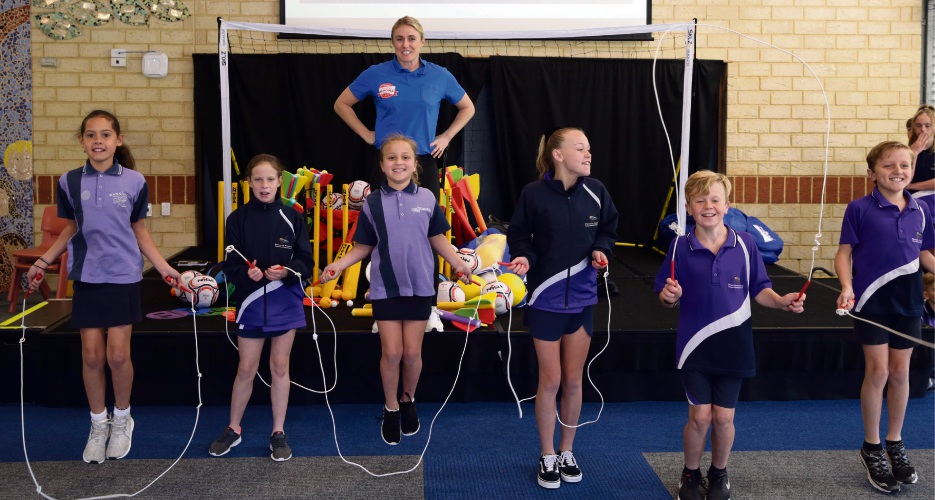 Champion athlete Sally Pearson with The Heartbeats at Wanneroo Primary School. Picture: Martin Kennealey d486576