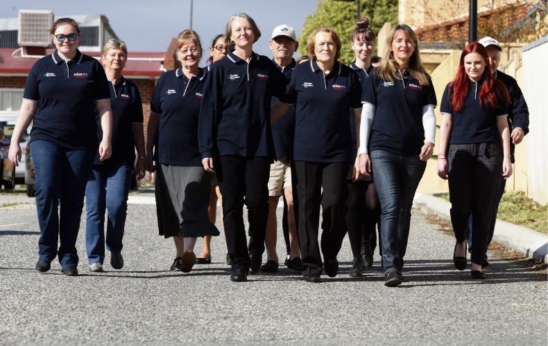The Asbestos Diseases Society of Australia walkers and volunteers. Photo: Martin Kennealey