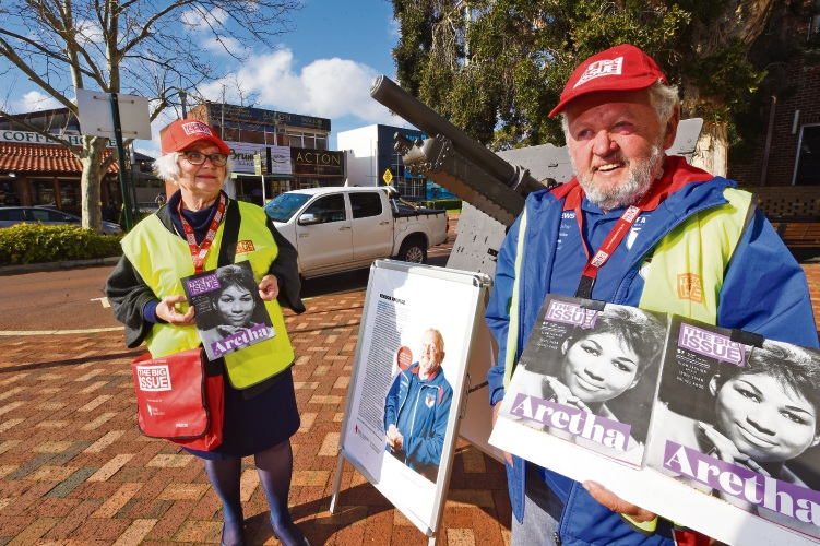 South Perth Mayor Sue Doherty and The Big Issue distributor Chris Ungvary. Picture: Jon Hewson