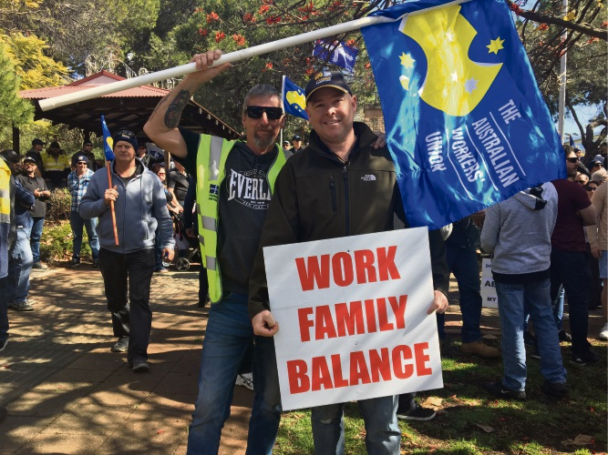 Alcoa workers Steve Harvey from Baldivis and Andy Ranford at a union protest at Parliament House.