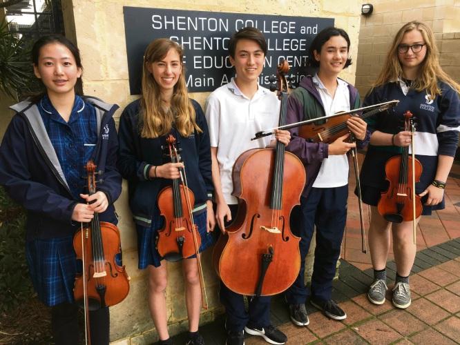 Shenton College String Quartet students Helen Yang, Mary Hippisley, Daniel Tan, Paul Tan, Marga van Rensburg.