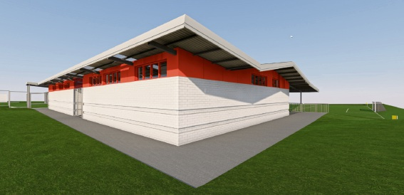 Artist's impressions of the Wanneroo City Soccer Club change rooms expansion at Kingsway Regional Sporting Complex.