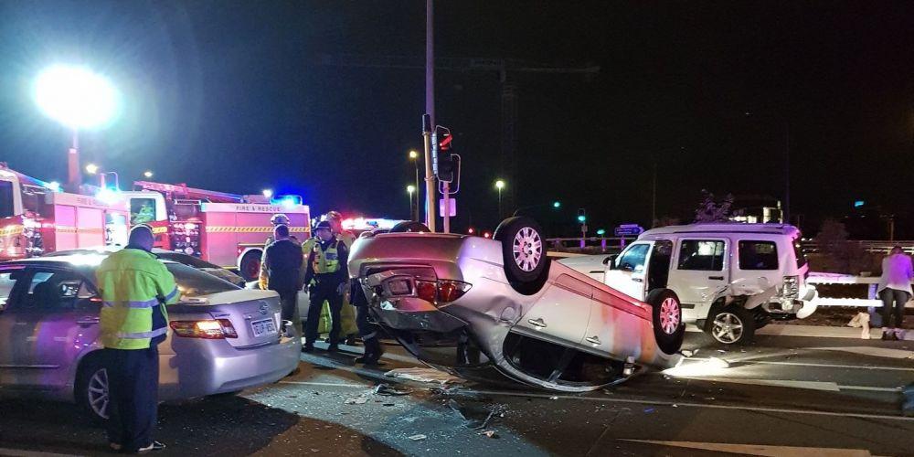 The crash on Graham Farmer Freeway this morning. Picture: Simon Etheridge, 6PR.