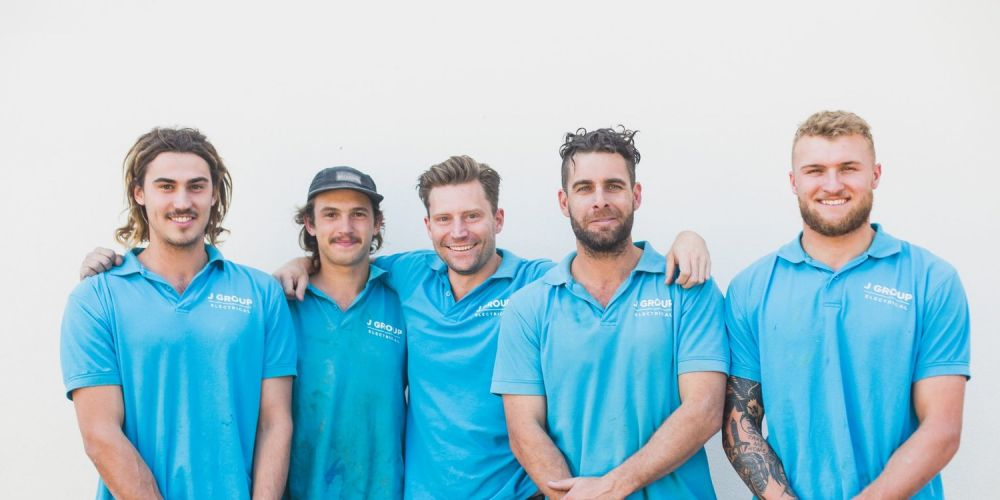 The J Group Electrical team: Nathan Ruggiero (left), Jordan West, Jake Riding, Brent Nichols and Sam De Fiddies.