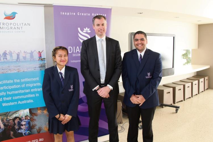 Stirling MHR Michael Keenan with DSC school captains Tearya Ean and Joel Jamieson.