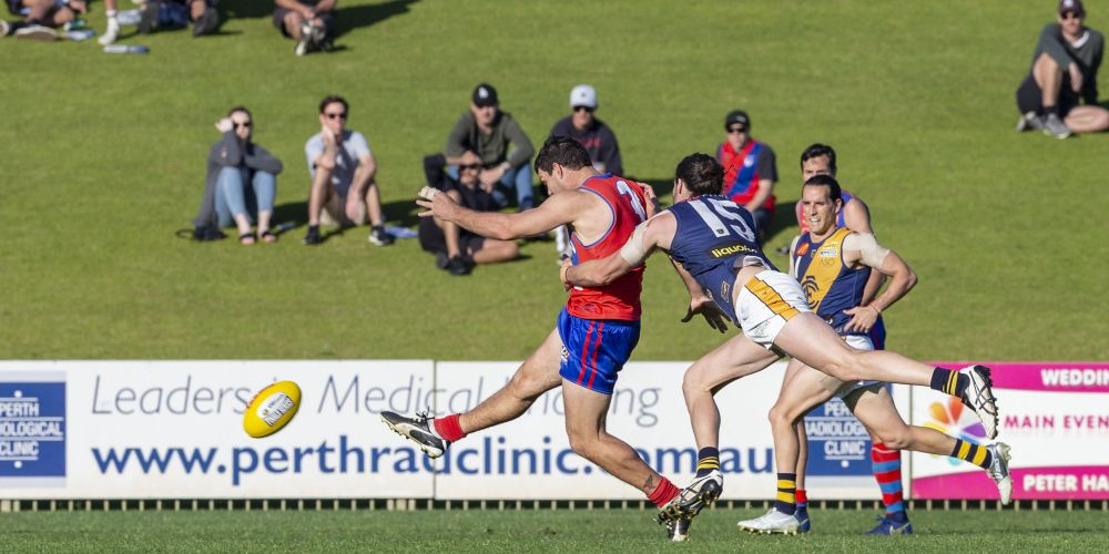 Andrew Strijk was among West Perth's goalkickers in the resounding win over Claremont at Joondalup Arena on Sunday. Picture: Dan White