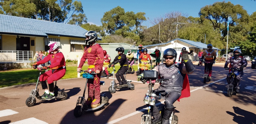 The Superkids Superheroes leaving Woodman Point on their way to the Perth Children's Hospital.