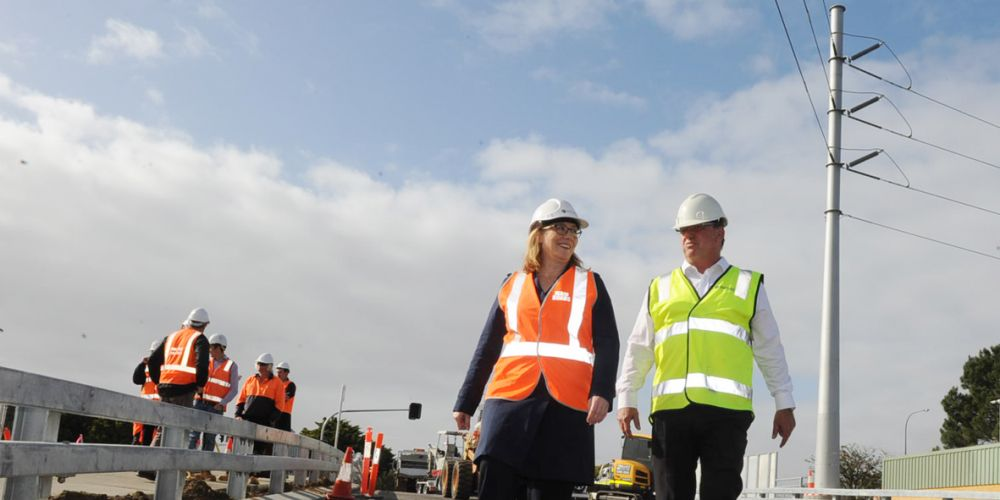 Transport Minister Rita Saffioti and Main Roads director of metropolitan operations Peter Sewell tour the new Ashton Road bridge before it opens tomorrow. Picture: Jon Bassett