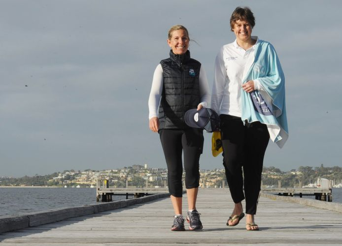 Claremont Jetty has been a training site for English Channel swimmer Serena Wells and her coach Ceinwen Roberts.  Picture: Jon Bassett.