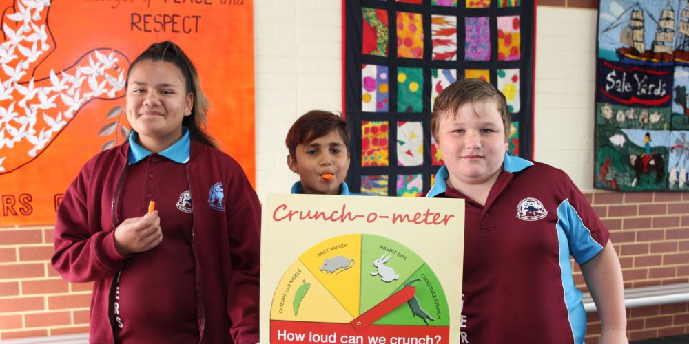 Students Haylea Manuel, Colin Smith and, Dew Miletic. Pic: Crunchometer.