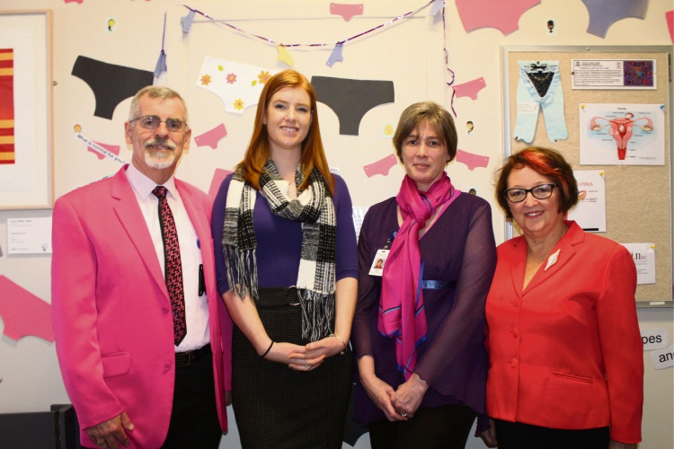 Women and Newborn Health Service Acting Executive Director Graeme Boardley, Patient Advocate Jade Smith, Manager Sarah Clifford and Awareness Information Network founder Kath Mazzella.