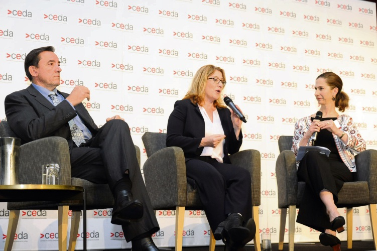 486773pA  (l-r) Housing Minister Peter Tinley and Transport Minister Rita Saffioti discuss Metronet with Arup Engineering's Kate West at the breakfast this morning.  Picture: Jon Bassett.
