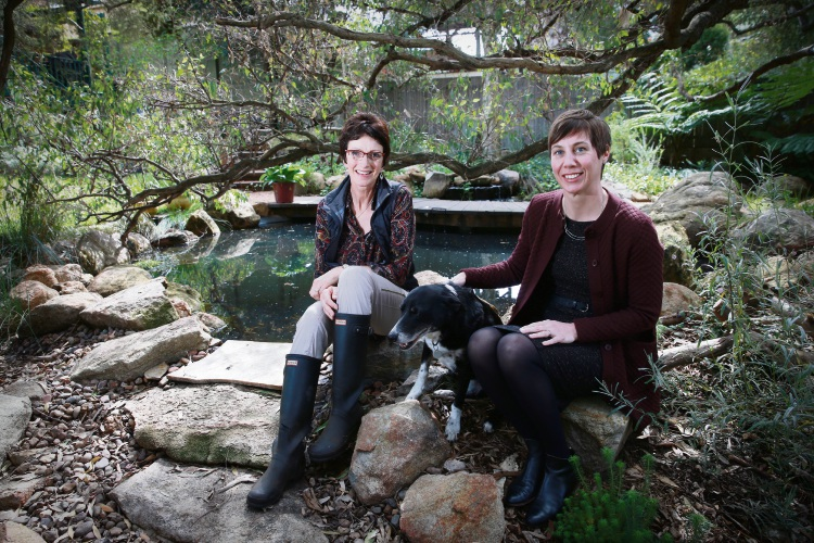 Caroline Cohen in her East Perth garden with Mayor Emma Cole