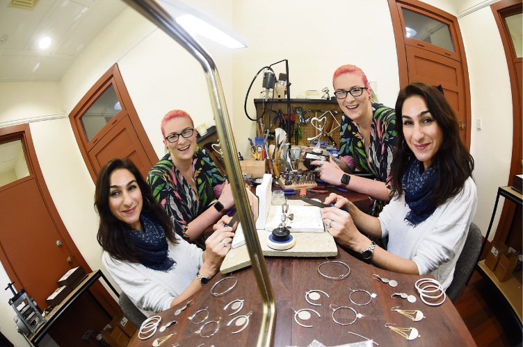 Jewellery make Marina Saker and Perth Makers Market founder Erin Madeley. Picture: Jon Hewson