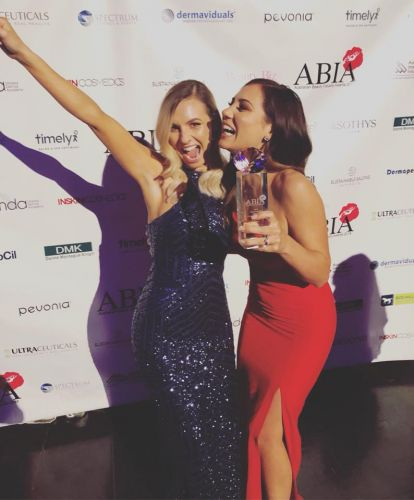 Eco Spa owner Hannah Martin and Monique Chiricosta celebrate at the ABI awards.