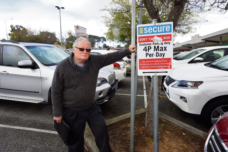 Jason Braunstein has been left frustrated after being wrongly fined at Kardinya Park Shopping Centre. Picture: Jon Hewson.