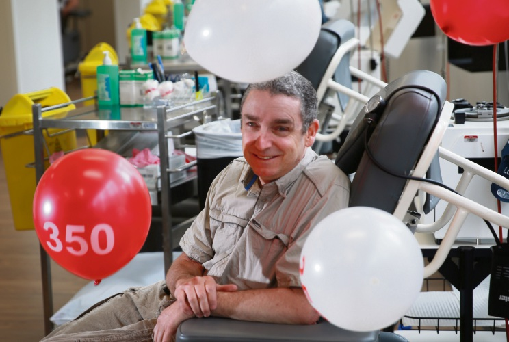 Ben Bruechle (Glendalough) has made 350 donations for Red Cross and has been recognised as part of Blood Donor Week. Photo: Andrew Ritchie