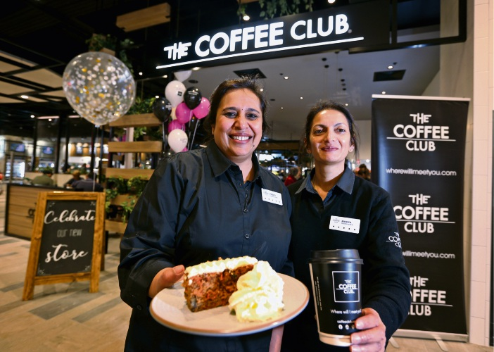 Franchisees Preeti Soni and Bindya Patel on their first day back of operation at Belmont Forum. Picture: David Baylis.