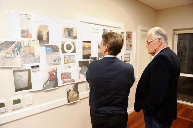 Cottesloe chief executive Matt Humfrey and Mayor Phil Angers view the publicity about the Indiana toilets collected by Cottesloe Residents and Ratepayers Association.  Picture: Jon Bassett.